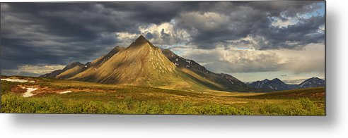 Canada Metal Print featuring the photograph Angelcomb Mountain Lit By Late by Robert Postma
