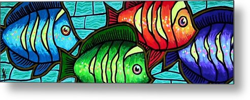 Tropics Metal Print featuring the painting Tropic Swim by Jim Harris