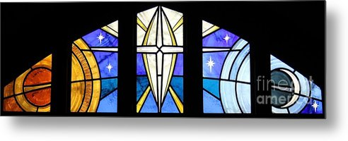 Stained Glass Metal Print featuring the glass art Creation Of The Stars by Gilroy Stained Glass