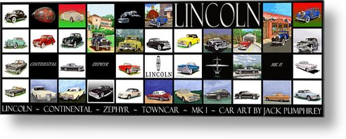 60 Inch Poster Best Ordered As A Metal Print Metal Print featuring the painting Poster Of Lincoln Cars by Jack Pumphrey
