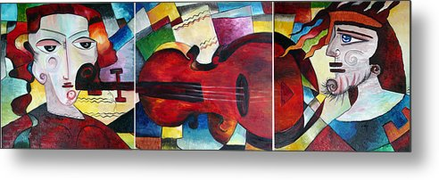 Triptych Metal Print featuring the painting Love And Music Triptych by Dorothy Maier