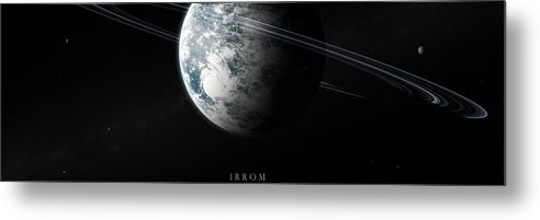 Irrom Space Planets Moons Stars 000 0x1200 Metal Print featuring the digital art Irrom Space Planets Moons Stars 100200 3840x1200 by Mery Moon