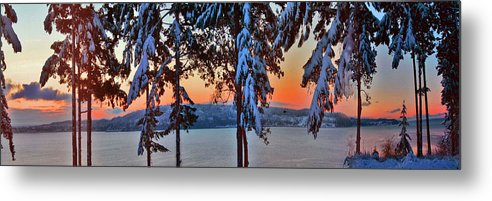 Winter Sunrise Metal Print featuring the photograph Winter Drama Sunrise Panorama by Mary Gaines