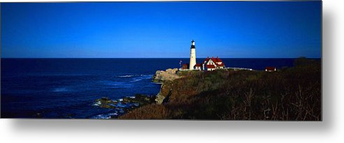 Aerial View Metal Print featuring the digital art Portland Head Light Panoramic View by Don Kuing