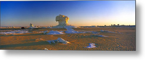 Photography Metal Print featuring the photograph Rock Formations In A Desert, White by Panoramic Images