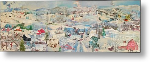 Snow Metal Print featuring the mixed media Snowy Village - Sold by Judith Espinoza