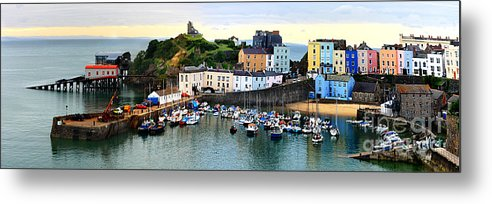 Tenby Metal Print featuring the photograph Tenby Harbour Panorama by Jeremy Hayden