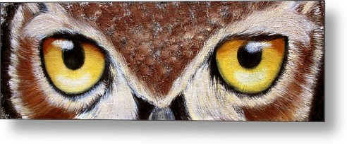 Owl Metal Print featuring the painting Whos Watching Who by Darlene Green