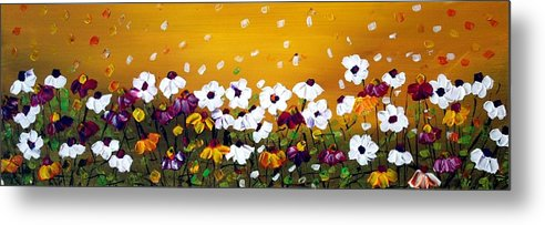 Flowers Metal Print featuring the painting Flowers In The Sunset by Luiza Vizoli
