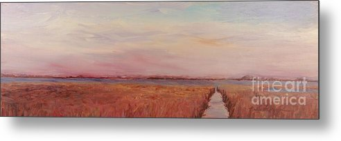 Landscape Metal Print featuring the painting Provence Camargue by Nadine Rippelmeyer