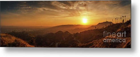 Sun Metal Print featuring the photograph Scenic Sunset Over Hollywood Hills by Konstantin Sutyagin