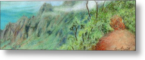 Rainbow Colors Pastel Metal Print featuring the painting Trail's End by Kenneth Grzesik