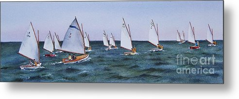 Sailboats Metal Print featuring the painting Beetlecat Race by Karol Wyckoff