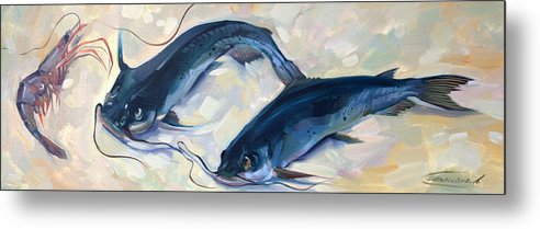 Seafood Metal Print featuring the painting Catfish And Shripm by Larisa Ivakina-Clevenger