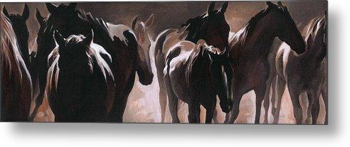 Herd Of Horses Metal Print featuring the painting Herd Of Horses by Natasha Denger