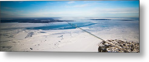 Metal Print featuring the photograph Mackinac Bridge In February by North American Aerials LLC