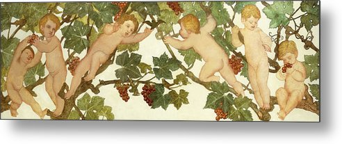 Irish Metal Print featuring the painting Putti Frolicking In A Vineyard by Phoebe Anna Traquair