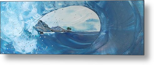 Wave Metal Print featuring the painting Belize Rollers by Danita Cole
