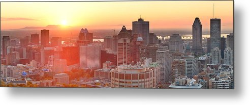 Montreal Metal Print featuring the photograph Montreal Sunrise Panorama by Songquan Deng