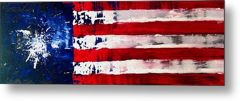 Flag Metal Print featuring the painting Patriot's Theme by Charles Jos Biviano