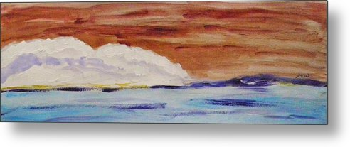 Acrylic Metal Print featuring the painting Red Brown Sky by Mary Carol Williams