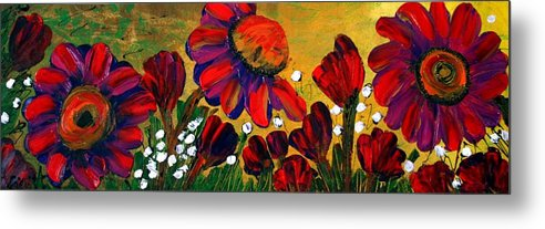 Flowers Metal Print featuring the painting Red Garden by Luiza Vizoli