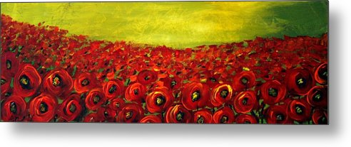 Flowers Metal Print featuring the painting Red Poppies Field by Luiza Vizoli