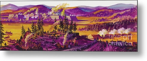 Under Siege Metal Print featuring the painting The Siege Of Fort William Henry 1757 by Ron Embleton