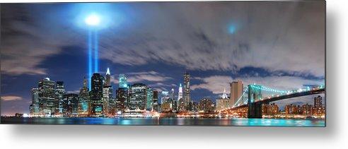 New York City Metal Print featuring the photograph New York City Manhattan Panorama by Songquan Deng