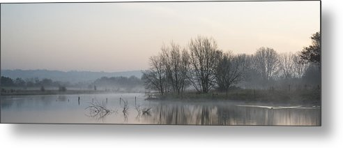 Landscape Metal Print featuring the photograph Panorama Landscape Of Lake In Mist With Sun Glow At Sunrise by Matthew Gibson