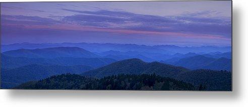 Blue Ridge Mountains Metal Print featuring the photograph Blue Ridge Panorama At Dusk by Andrew Soundarajan