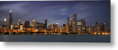 3scape Metal Print featuring the photograph Chicago Skyline At Night Color Panoramic by Adam Romanowicz