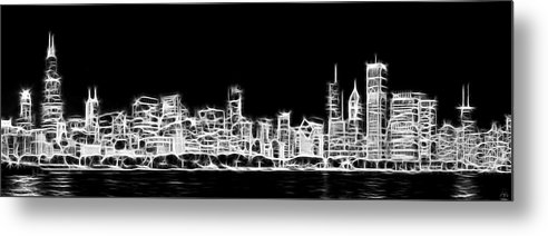 3scape Metal Print featuring the photograph Chicago Skyline Fractal Black And White by Adam Romanowicz