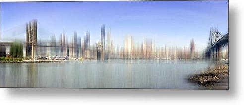 Distance Metal Print featuring the photograph City-art Manhattan Skyline I by Melanie Viola