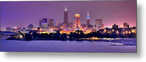 Cleveland Skyline Metal Print featuring the photograph Cleveland Skyline At Night Evening Panorama by Jon Holiday