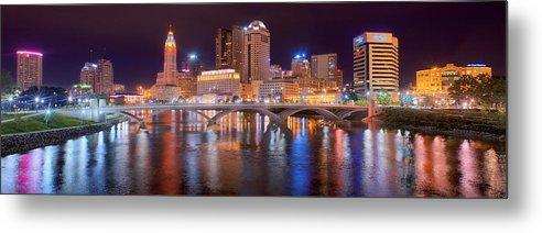 Columbus Skyline Metal Print featuring the photograph Columbus Skyline At Night Color Panorama Ohio by Jon Holiday
