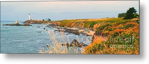 Lighthouse Metal Print featuring the painting Lighthouse In Summer by Artist and Photographer Laura Wrede