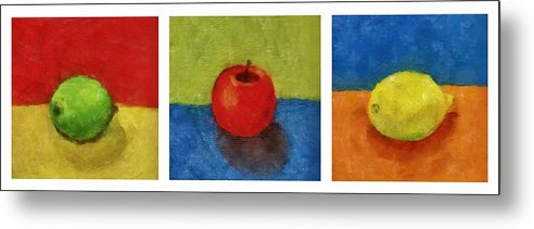 Lime Metal Print featuring the painting Lime Apple Lemon by Michelle Calkins