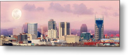 Nashville Skyline Metal Print featuring the photograph Moon Over Nashville by Amy Tyler