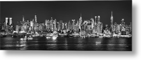 New York City Skyline At Night Metal Print featuring the photograph New York City Nyc Skyline Midtown Manhattan At Night Black And White by Jon Holiday