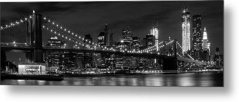 New York Metal Print featuring the photograph Night-skyline New York City Bw by Melanie Viola