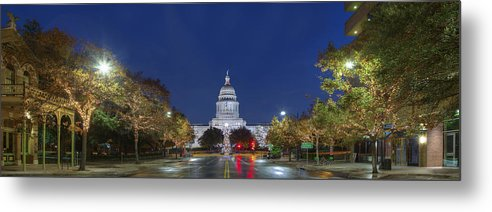 Texas State Capitol Metal Print featuring the photograph Panorama Of The Texas State Capitol At Christmas by Rob Greebon