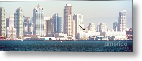 San Diego Harbor Metal Print featuring the photograph Panoramic Image Of San Diego From The Harbor by Artist and Photographer Laura Wrede