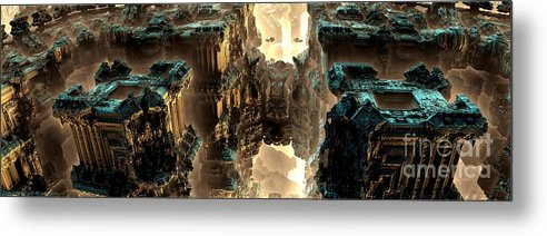 Fractal Art Metal Print featuring the digital art Towers by Bernard MICHEL