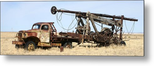 Thank You For Buying A 40.000 X 13.375 Print Of Vintage Water Well Drilling Truck To A Buyer From Ramah Metal Print featuring the photograph Vintage Water Well Drilling Truck by Jack Pumphrey