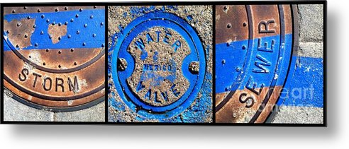 Marlene Burns Metal Print featuring the photograph Bluer Sewer Triptych by Marlene Burns