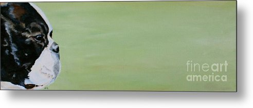 Boston Terrier Metal Print featuring the painting Green Space by Susan Herber