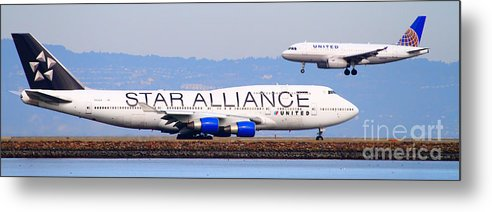 Pano Metal Print featuring the photograph Star Alliance Airlines And United Airlines Jet Airplanes At San Francisco Airport Sfo . Long Cut by Wingsdomain Art and Photography