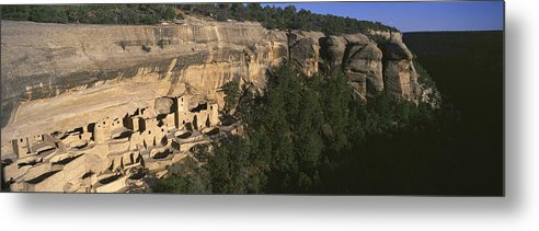 Photography Metal Print featuring the photograph Panoramic View Of Cliff Palace Cliff by Panoramic Images
