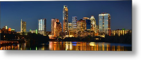 Austin Skyline Metal Print featuring the photograph Austin Skyline At Night Color Panorama Texas by Jon Holiday